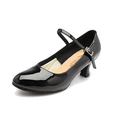 Women's Patent Leather Heels Pumps Modern With Buckle Dance Shoes