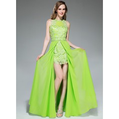 A-Line/Princess Scoop Neck Floor-Length Chiffon Lace Prom Dress With Beading Sequins Split Front