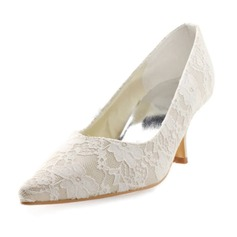 Women's Lace Satin Spool Heel Closed Toe Pumps With Stitching Lace