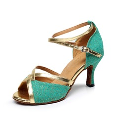 Women's Cloth Heels Sandals Latin With Ankle Strap Dance Shoes