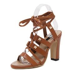 Women's Leatherette Chunky Heel Sandals Peep Toe Slingbacks With Ribbon Tie shoes