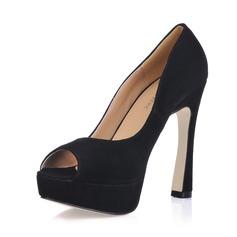 Suede Chunky Heel Peep Toe Platform Sandals