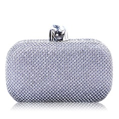 Attractive Faux Leather/Rhinestone Clutches