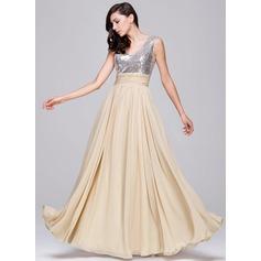 A-Line/Princess V-neck Floor-Length Chiffon Sequined Prom Dress With Ruffle