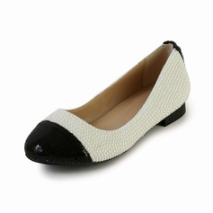 Patent Leather Flat Heel Flats Closed Toe With Imitation Pearl shoes (085027360)