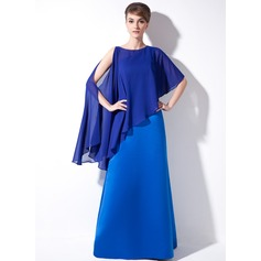 Sheath/Column One-Shoulder Floor-Length Satin Mother of the Bride Dress
