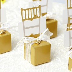 Chair Design Favor Boxes With Ribbons/Heart Charm