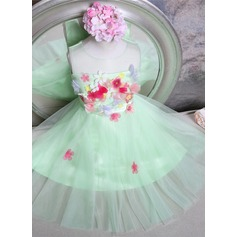 A-Line/Princess Knee-length Flower Girl Dress - Tulle Sleeveless Jewel With Flower(s)/Bow(s)