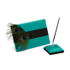 Peacock Feather Satin Feather Guestbook/Pen Set