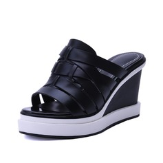 Women's Real Leather Wedge Heel Sandals Slippers shoes