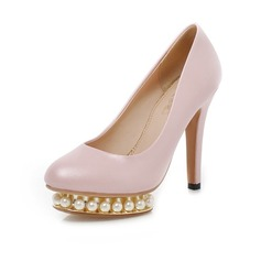 Leatherette Stiletto Heel Pumps Platform Closed Toe With Imitation Pearl shoes