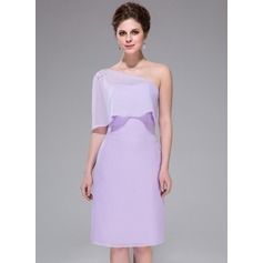 Sheath/Column One-Shoulder Knee-Length Chiffon Bridesmaid Dress With Beading Cascading Ruffles