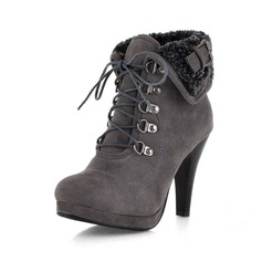 Suede Spool Heel Platform Ankle Boots shoes