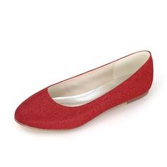 Women's Leatherette Satin Flat Heel Closed Toe