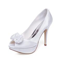 Women's Satin Stiletto Heel Peep Toe Sandals With Flower