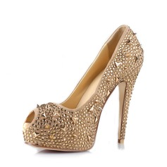 Rubber Stiletto Heel Sandals Platform Peep Toe With Rhinestone Rivet shoes