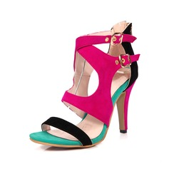 Women's Leatherette Stiletto Heel Sandals Pumps Peep Toe With Buckle shoes (087095302)