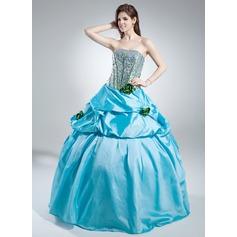 Corte de baile Estrapless Hasta el suelo Tafetán Con lentejuelas Vestido de quinceañera con Volantes Flores