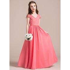 Corte A/Princesa Escote en V Hasta el suelo Chifón Encaje Vestido de Damita de honor (009087908)
