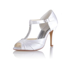 Women's Silk Like Satin Cone Heel Peep Toe Sandals With Buckle Rhinestone