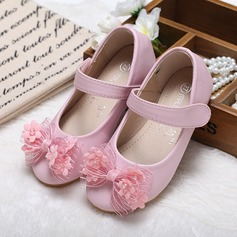 Girl's Leatherette Flat Heel Closed Toe Flats With Bowknot Rhinestone (207095553)