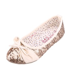 Kids' Leatherette Flat Heel Closed Toe Flats With Bowknot Sparkling Glitter