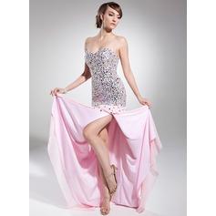 A-linjeformat Hjärtformad Sweep släp Chiffong Balklänning med Pärlbrodering Paljetter Slits Fram