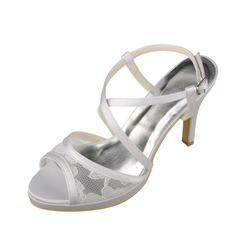 Women's Lace Satin Stiletto Heel Pumps Sandals
