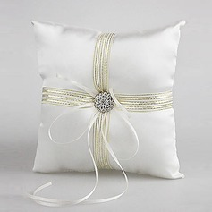 Satin Wedding Ring Pillow With Ribbons And Rhinestone(103018232)
