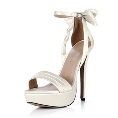Women's Silk Like Satin Stiletto Heel Peep Toe Platform Pumps With Bowknot Buckle