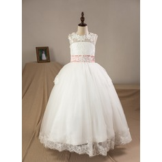 Ball Gown Floor-length Flower Girl Dress - Tulle/Lace Sleeveless Scoop Neck With Bow(s) (Petticoat included) (010093761)