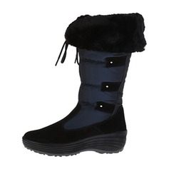Women's Suede Low Heel Boots Snow Boots With Button shoes