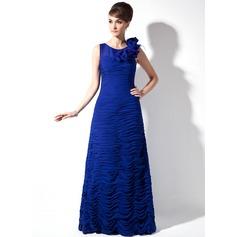 Etui-Linie U-Ausschnitt Sweep/Pinsel zug Chiffon Kleid für die Brautmutter mit Rüschen Federn