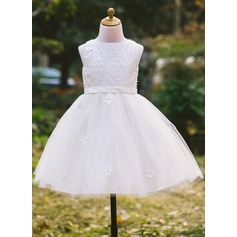 A-Line/Princess Tea-length Flower Girl Dress - Satin/Tulle Sleeveless Scoop Neck With Beading/Appliques