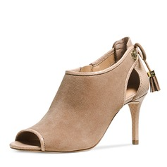 Women's Suede Stiletto Heel Boots Peep Toe Ankle Boots With Ribbon Tie shoes
