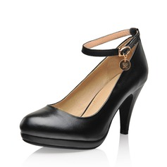 Real Leather Cone Heel Pumps Closed Toe With Buckle shoes