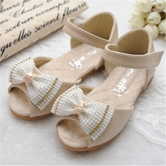 Kids' Leatherette Flat Heel Flats Peep Toe With Bowknot Imitation Pearl