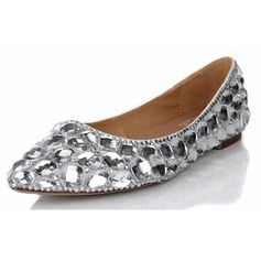 Women's Real Leather Flat Heel Closed Toe Flats With Rhinestone