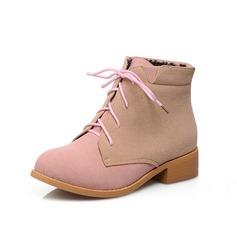 Wildleder Stämmiger Absatz Stiefelette Schuhe