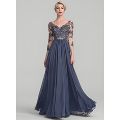 A-Line/Princess V-neck Floor-Length Chiffon Lace Evening Dress (017131491)