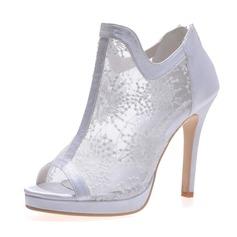 Women's Lace Satin Stiletto Heel Boots Peep Toe Sandals With Zipper
