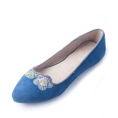 Women's Suede Flat Heel Flats Closed Toe With Stitching Lace shoes