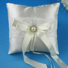 Lovely Ring Pillow in Satin With Rhinestones