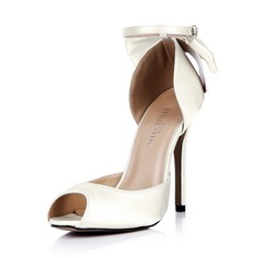 Kvinnor siden som satin Stilettklack Peep Toe Pumps med Fören Buckle