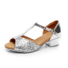 Women's Kids' Sparkling Glitter Patent Leather Sandals Latin With Rhinestone T-Strap Dance Shoes