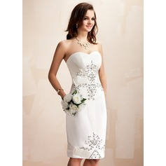 Vestido tubo Escote corazón Hasta la rodilla Satén Vestido de novia con Bordado Lentejuelas