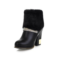 Leatherette Chunky Heel Platform Ankle Boots With Rhinestone Fur shoes