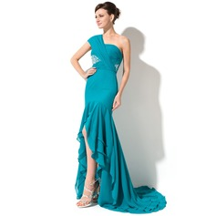 Trumpet/Mermaid One-Shoulder Asymmetrical Chiffon Holiday Dress With Beading Sequins Cascading Ruffles