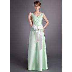 A-Line/Princess V-neck Floor-Length Satin Bridesmaid Dress With Ruffle Sash Bow(s)