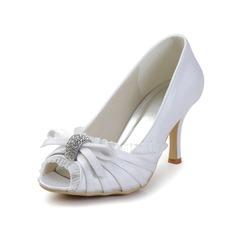 Women's Satin Cone Heel Peep Toe Sandals With Bowknot Rhinestone